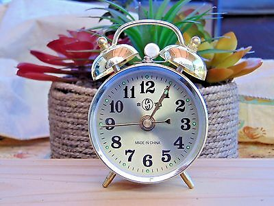 Gold Old Fashioned Alarm Clock Wind Up No Batteries Required USA Stock Twin Bell