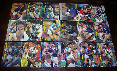 AUCKLAND WARRIORS Full set of 18 Cards ~ Series 1 & 2~1996 Dynamic Rugby League
