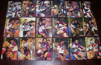 MANLY Full set of 18 Cards ~ Series 1 & 2 ~1996 Dynamic Rugby League