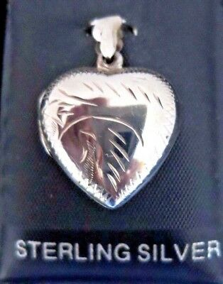 HEART SHAPED LOCKET - PENDANT - 925 STERLING SILVER - 2 X 2.2 CM - Decorated