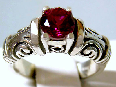 1ct red ruby antique 925 sterling silver scroll ring size 6 USA made