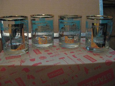Libbey Paddle Wheel River Boat Whiskey Drinking Glasses / Clear / Gold / Teal