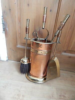 Vintage Copper and Brass 5 Piece Fireside Companion Set