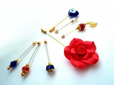 """Hijab Pins 7 Piece Hijab Pins Set  """"Love & Protection Collection"""" inc Giant Red"""
