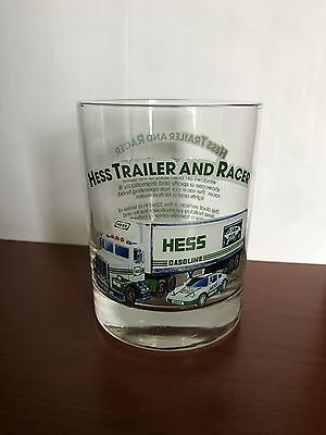 """Hess Truck Glass Cup """"Hess Trailer and Racer"""" 1996 Series MINT!!!"""