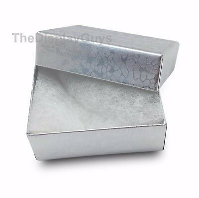 "US Seller~12 pcs 1 7/8""x1 1/4""x5/8"" Silver Cotton Filled Jewelry Boxes"