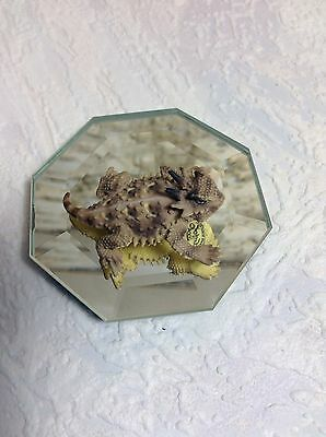 Miniature Ceramic HORNY TOAD 1.5 Inch On Glass Display Marked
