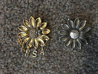 2 KANSAS Sunflower Pins – Gold and Silver Metal