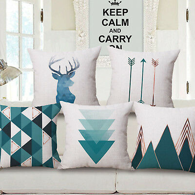 "18""  Home Cotton Linen Car Bed Waist Cushion Throw Pillow Case Square Cover Gift"
