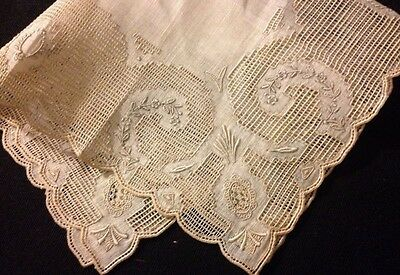 Exceptional Bridal Handkerchief Reticella Drownwork Needlework  Scalloped Edges
