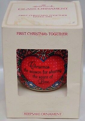 Vintage 1981 Hallmark First Christmas Together Satin Ornament With Box
