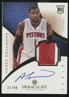 2012-13 Panini Immaculate Andre Drummond 3 Color Patch RC Auto /99
