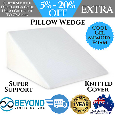 Memory Foam Bed Wedge Pillow Cushion Neck Back Support Home Sleep Washable Cover