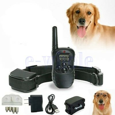 Rechargeable Remote LCD Electric 100LV Shock Anti Bark Dog Training Collar GW
