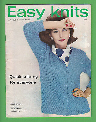 """Vintage VOGUE Knitting Book ~ Easy Knits No 1 """"Quick knitting for everyone"""" 1963"""