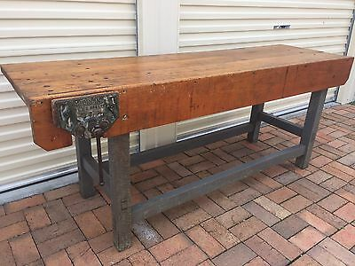 Antique Solid Timber Carpenters Workbench Work Bench Counter Restaurant Shop