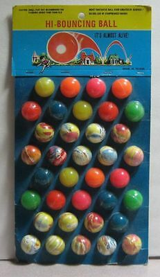 36 RUBBER SUPER BALLS Old Store Display Card WHAMO quality vintage finds
