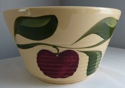 Vintage Watt Pottery Ribbed Apple Mixing Bowl #6 Decorative Country Kitchen