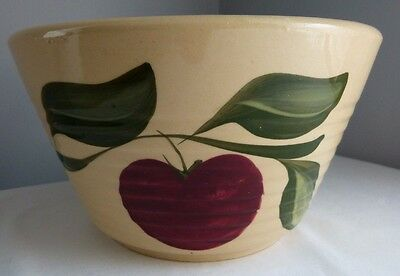 Vintage Watt Pottery Ribbed Apple Mixing Bowl #8 Decorative Country Kitchen