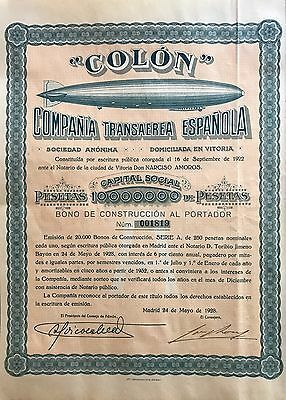 1928 Spain Spanish Zeppelin Airship Company Stock Certificate Construction Bond