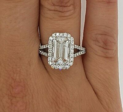 4.00 Ct Emerald Cut D/si1 Diamond Solitaire Engagement Ring 18K White Gold