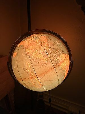 "Cram's 16"" Political Terrestrial Light Floor Lamp Globe Vintage Antique"