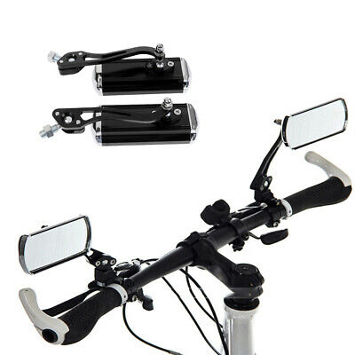 Adjustable Bicycle Rear View Mirror Rectangle Bike Rearview for 22.2mm Black