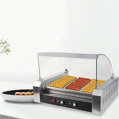 New Commercial 30 Hot Dog 11 Roller Grill Cooker Machine Sausage Machine W/cover