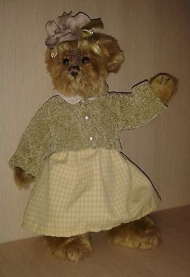 """The Bearington Collection Golden plush Teddy Bear Plus clothes 11"""" Jointed"""