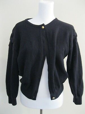 Vintage Navy Blue Pure New Wool Cropped Bows Cardigan Jacket