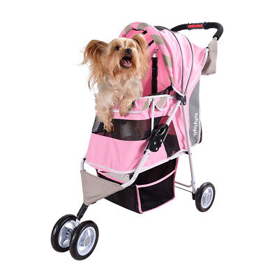 Ibiyaya Pet Stroller for Cats & Dogs - Matte Edition Diagonal Stripes - Pink