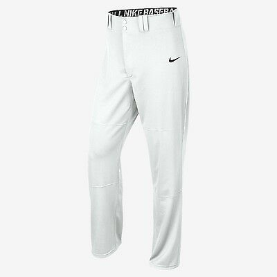 New Nike Men's Longball Baseball Softball Swoosh Long Hemmed White Pants Sz/ M