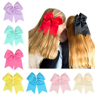 8'' Boutique Cheer Bow Hair bands Solid Color Girls Cheerleading Elastic Band