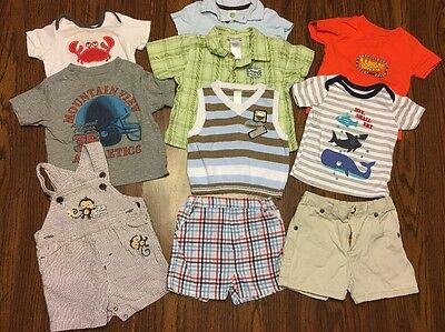 Lot Of 10 Baby Boy Assorted Clothes Size 6-9 Months-Shirts, Shorts, Bib Overalls