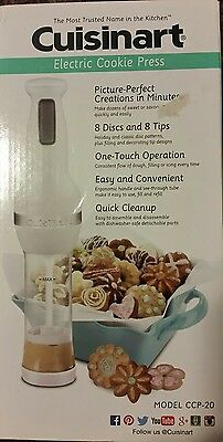 NIB New Cuisinart CCP-20 Electric Cookie Press with 8 Discs & 8 Decorating Tips