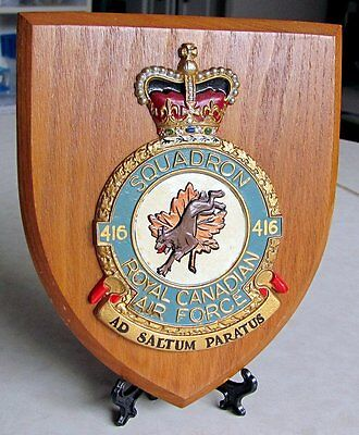 RCAF Royal Canadian Air Force 416 SQUADRON Plaque 50s-60s Era Made in GT Britain