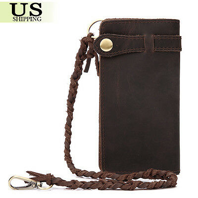 Vintage Men's Leather Biker Chain Long Wallet Checkbook Card Holder Purse Clutch