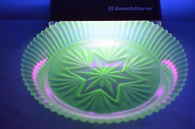 Unusual Star Pattern Large Uranium Glass Bowl.