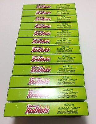 Box of 12 X Red Hots Chewy Kickin Mango Lime Candy, 5 Ounce x12