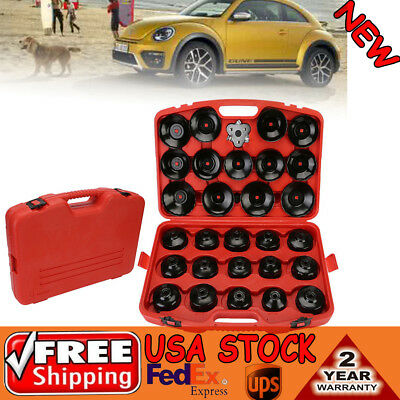 30PCS Cap Type Oil Filter Wrench CUP Socket Tools Set Automotive Removal Kit