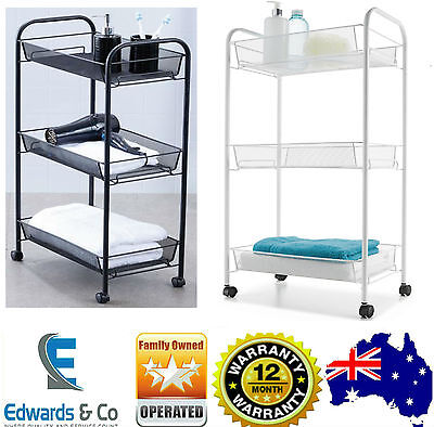 Bathroom Trolley 3 Baskets Shelves Tiers Storage Trolley Towels Make Up Shampoo