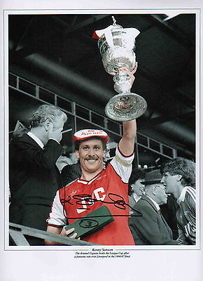 "ARSENAL-1986-87 LEAGUE CUP-12x16"" PHOTOGRAPH HAND SIGNED by KENNY SANSOM-UACC RD"