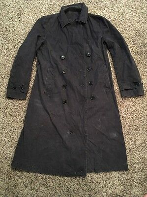 Vintage 1940's WW2  U.S. Navy Issued Light Weight Peacoat Trench Jacket Cool!!