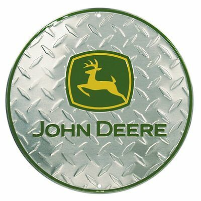 John Deere Round Sign, Embossed Diamond Design