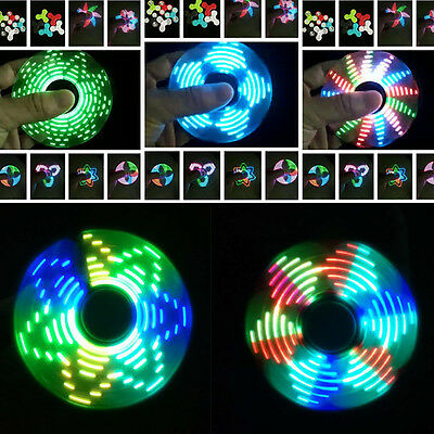 18 Changing Color LED Light Rainbow Finger Fidget Hand Spinner EDC Focus Toy New