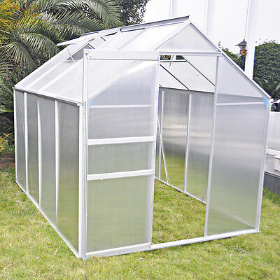 6x4ft Walk-In Polycarbonate Greenhouse Plant Grow Aluminium With Foundation Base