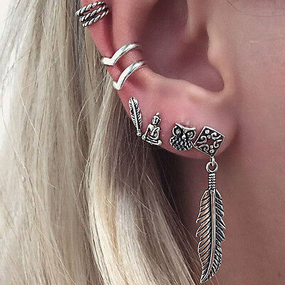 6Pcs Bohemia Women Retro Silver Owl Leaf Ear Stud Ring Cuff Wrap Dangle Earrings