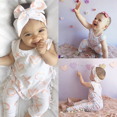 Cute Newborn Baby Girl Boy Sunsuit Romper Jumpsuit Bodysuit 2pcs Outfits Clothes