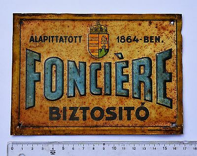 Insurance tin sing-Hungarian-FONCIERE INSURANCE-1930-40