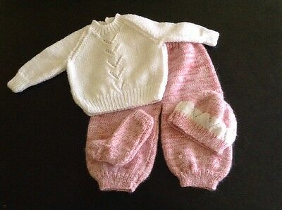 Hand Knitted Jumper,trousers Socks And Hat For 0-3 Month Baby Girl
